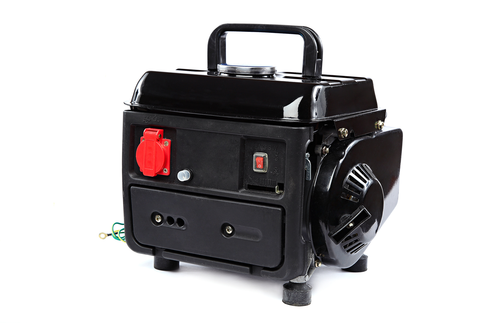 Portable fuel electric generator on white background.
